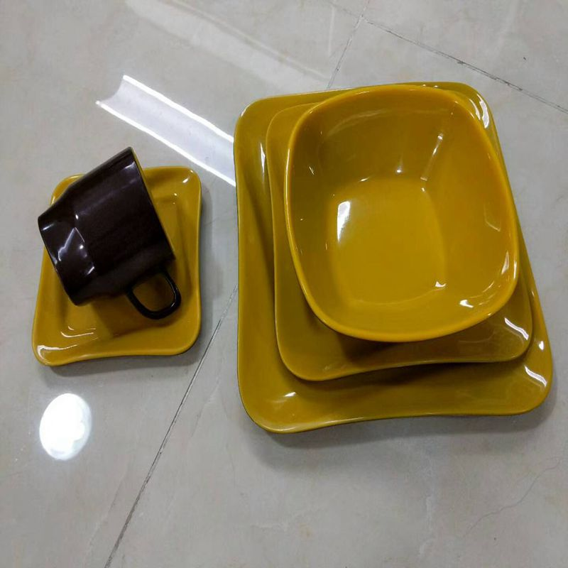Melamine tableware with dishwasher precautions